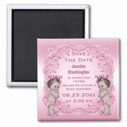 Save the Date Baby Shower Inspirational Vintage Twins Princess Baby Shower Save the Date