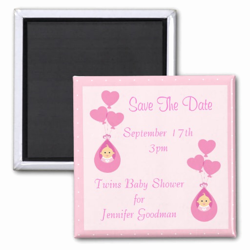 Save the Date Baby Shower Lovely Twin Girls & Balloons Save the Date Baby Shower Fridge