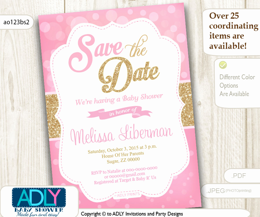 Save the Date Baby Shower Luxury Save the Date Invitation for Baby Shower Bokeh Pink and Gold