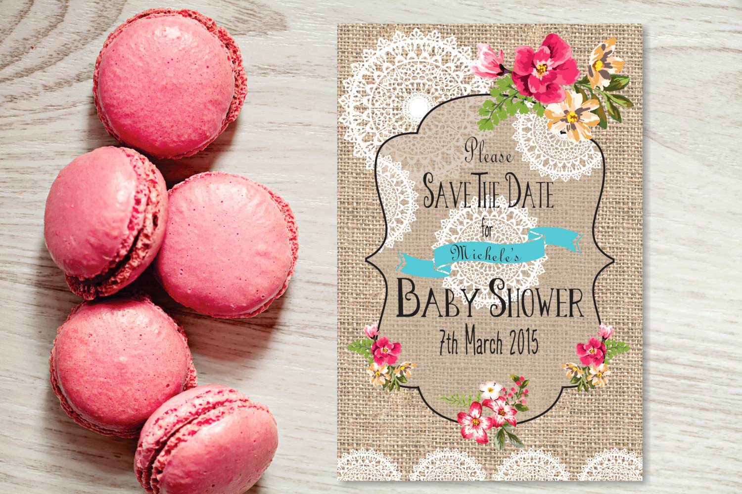 Save the Date Baby Shower Unique Baby Shower Save the Date Card 6 X 4 Burlap and by Gemmedsnail