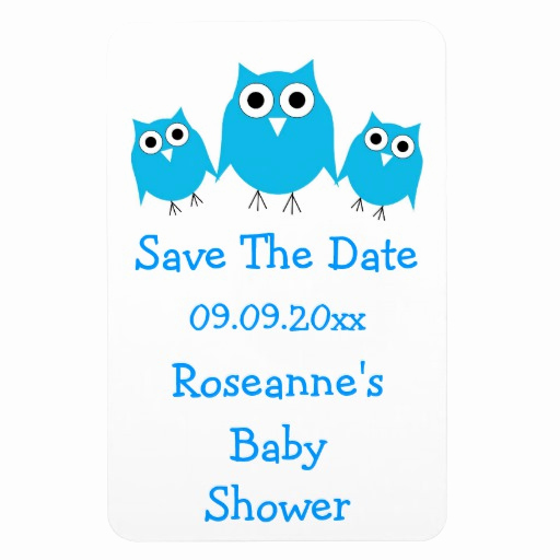 Save the Date Baby Shower Unique Blue Owl Save the Date Baby Shower Magnet