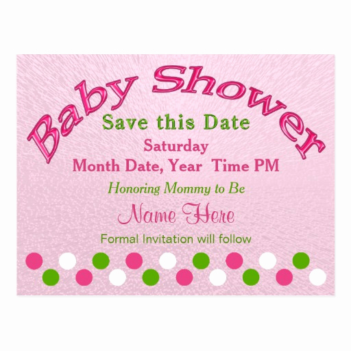 Save the Date Baby Shower Unique Pink and Green Baby Shower Save the Date Cards