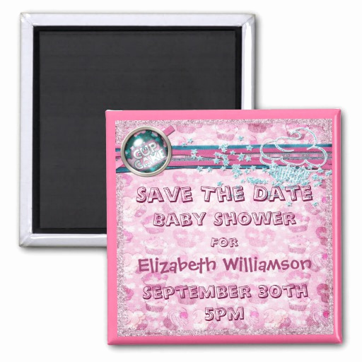 Save the Date Baby Shower Unique Pink Cupcakes & Glitter Baby Shower Save the Date Fridge
