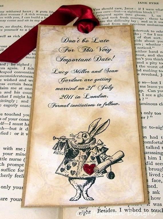 Save the Date Bookmarks Lovely Alice In Wonderland Save the Date Bookmark Vintage by