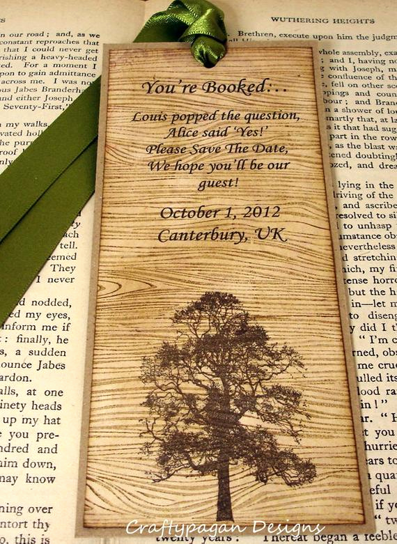 rustic save the date bookmark with