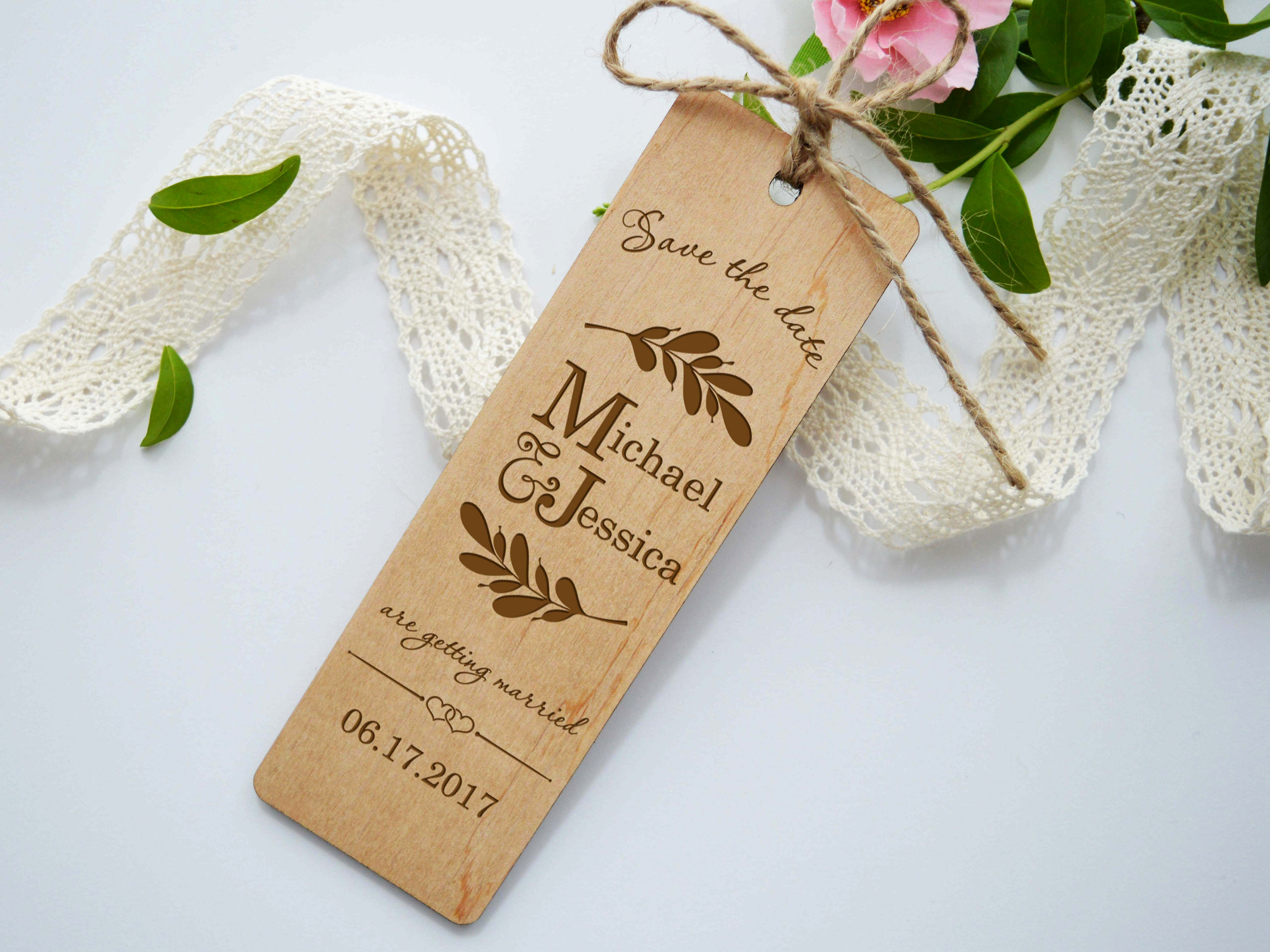 Save the Date Bookmarks Unique Wedding Bookmarks Wooden Save the Date Bookmark Wood Wedding