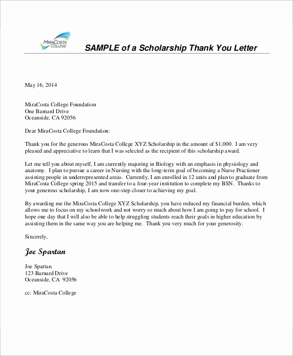 Scholarship Thank You Letters Inspirational 8 Sample Nursing Thank You Letter Free Sample Example