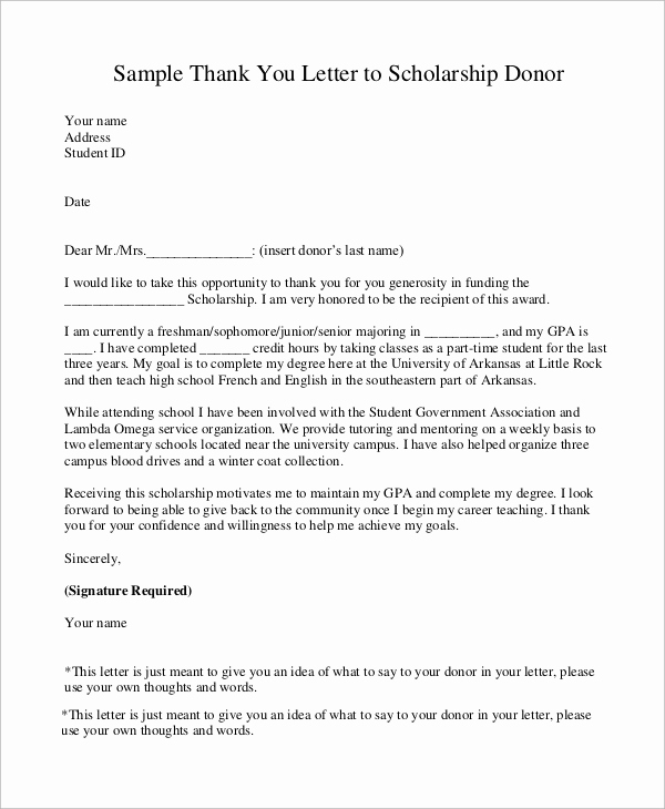 Scholarship Thank You Letters Lovely Sample Scholarship Thank You Letter 8 Examples In Word Pdf