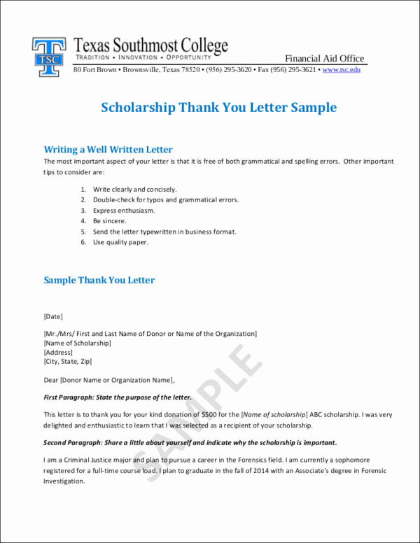 Scholarship Thank You Letters New Writing College Scholarship Thank You Letters