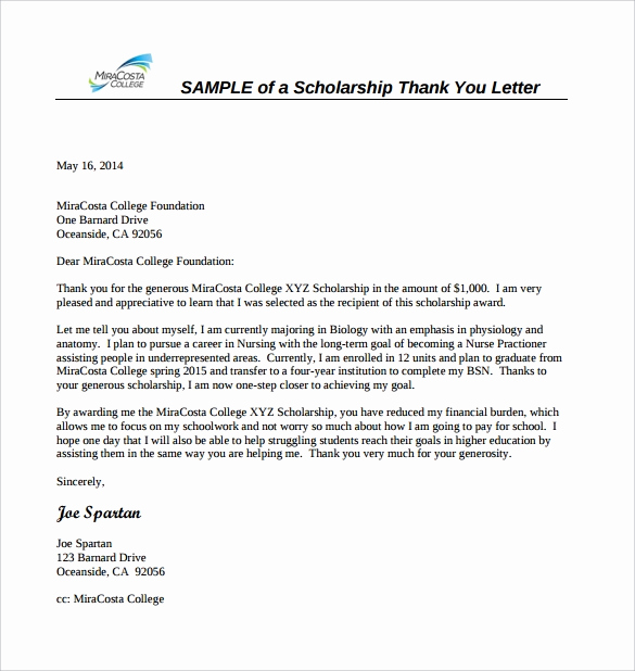 Scholarship Thank You Letters Sample Best Of 13 Sample Scholarship Thank You Letters Doc Pdf