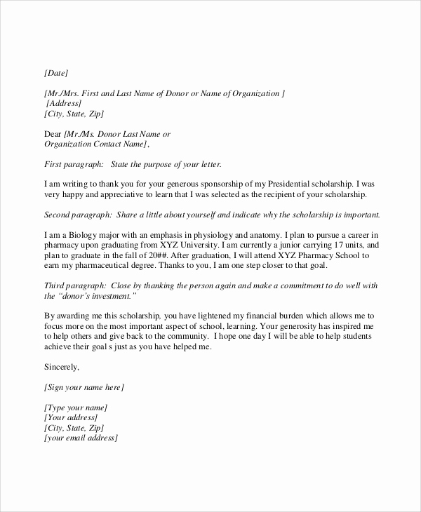 Scholarship Thank You Letters Sample Fresh Scholarship Thank You Letter Samples Examples Templates