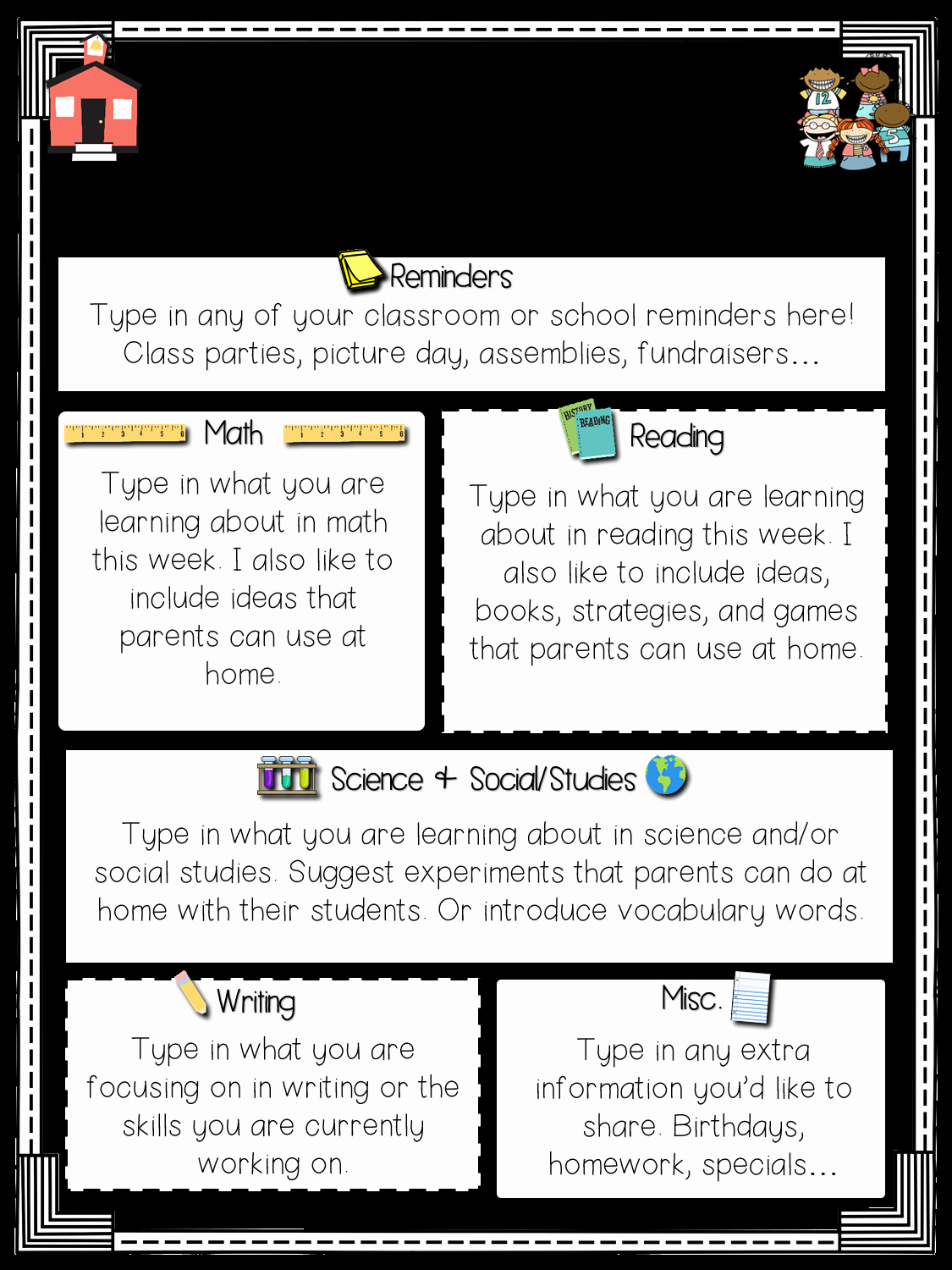 School Newsletter Templates Free Awesome Primary Chalkboard Class Newsletters Freebie Included