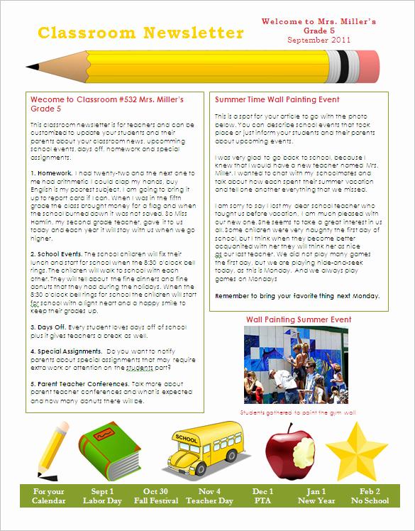 School Newsletter Templates Free Elegant 27 Microsoft Newsletter Templates Doc Pdf Psd Ai