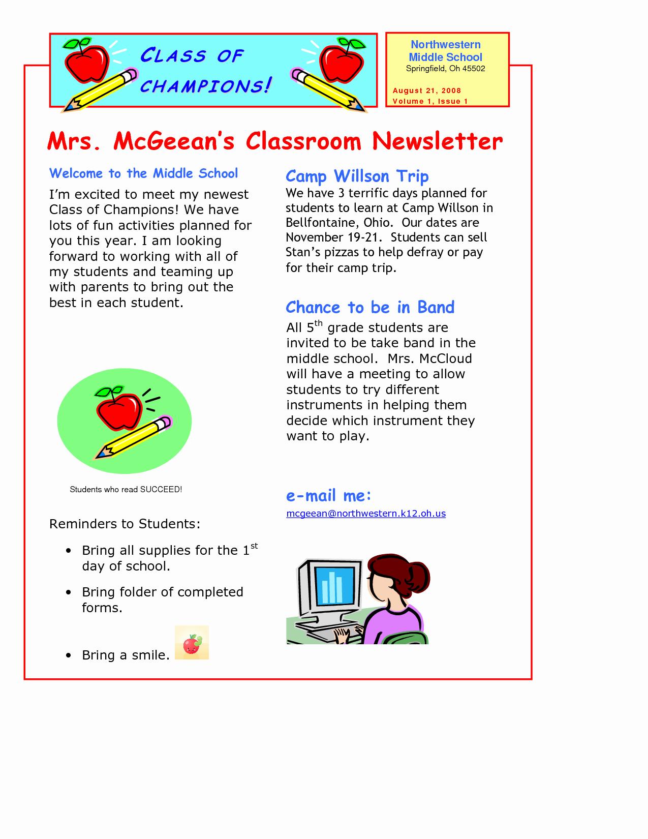School Newsletter Templates Free Elegant Classroom Newsletter Template