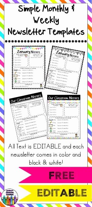 School Newsletter Templates Free Lovely Editable Class Newsletter Template