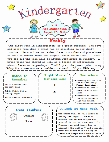School Newsletter Templates Free Lovely Kindergarten Newsletter Template 3 Free Newsletters