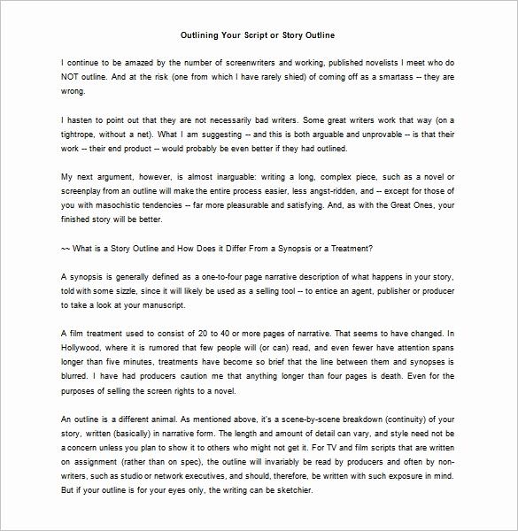 Script Writing format Pdf Elegant Script Outline Template 6 Free Word Excel Pdf format