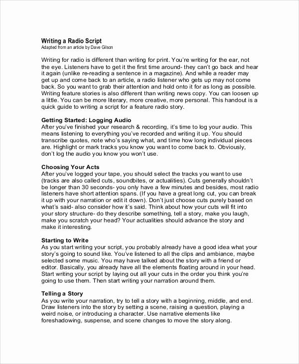 Script Writing format Pdf Fresh 9 Script Writing Samples