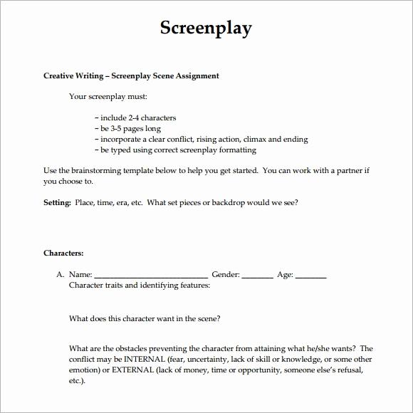 Script Writing format Pdf New 6 Screenplay Samples