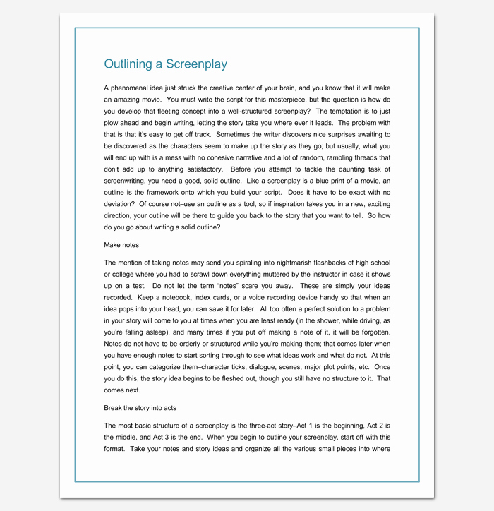 Script Writing format Pdf New Screenplay Outline Template 9 Worksheets for Word Pdf