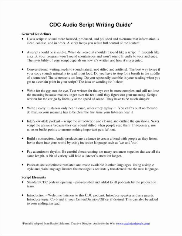 Script Writing format Pdf Unique 11 Scriptwriting Samples & Templates Pdf