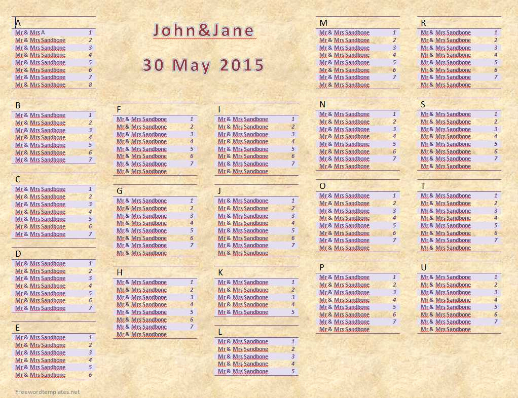 Seating Chart Template Wedding Awesome Wedding Seating Chart
