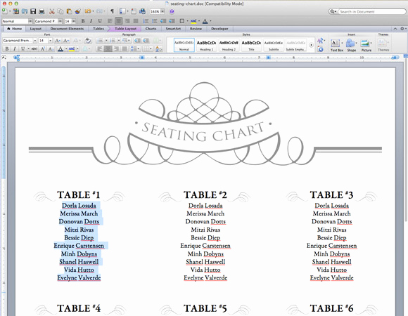 Seating Chart Template Wedding Best Of Elegant Diy Table Numbers Seating Chart
