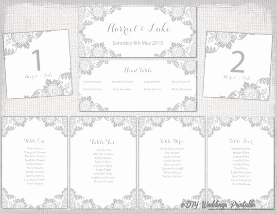 Seating Chart Template Wedding Best Of Wedding Seating Chart Template Silver Gray Antique