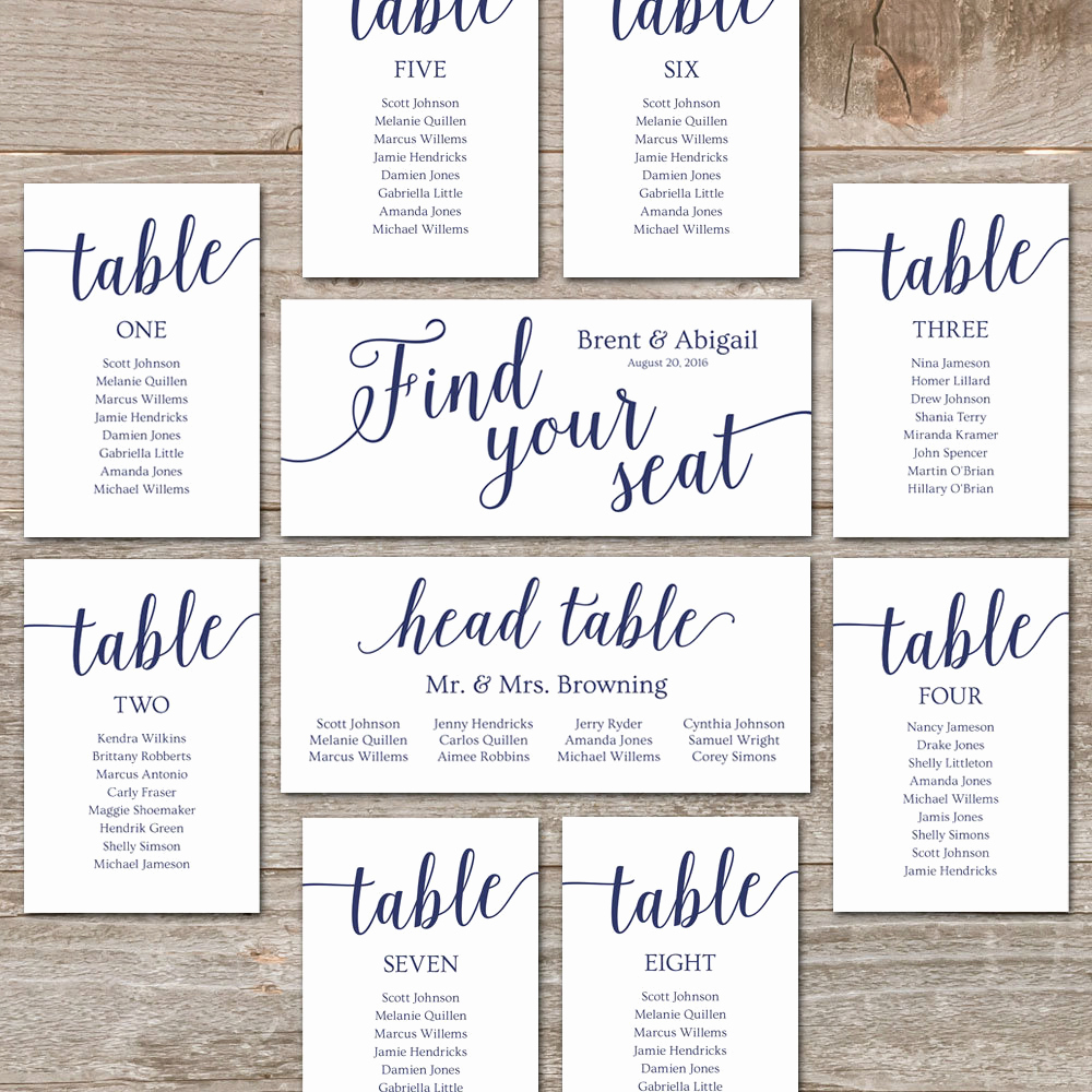 Seating Chart Template Wedding Elegant Navy Seating Chart Template Wedding Seating Chart Cards