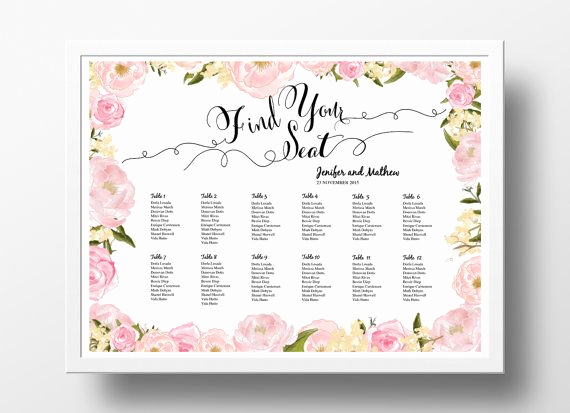Seating Chart Template Wedding Elegant Wedding Seating Chart Poster Template