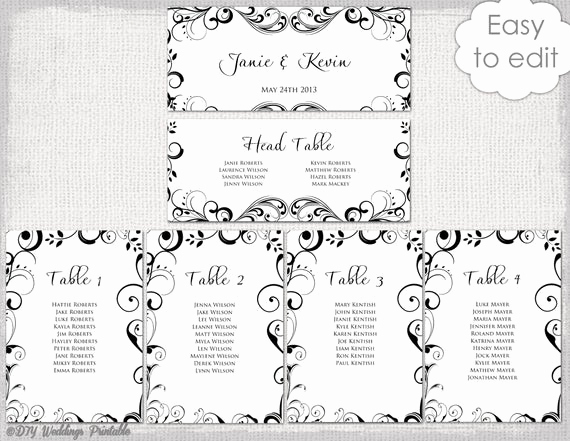 Seating Chart Template Wedding Inspirational Wedding Seating Chart Template Black and White