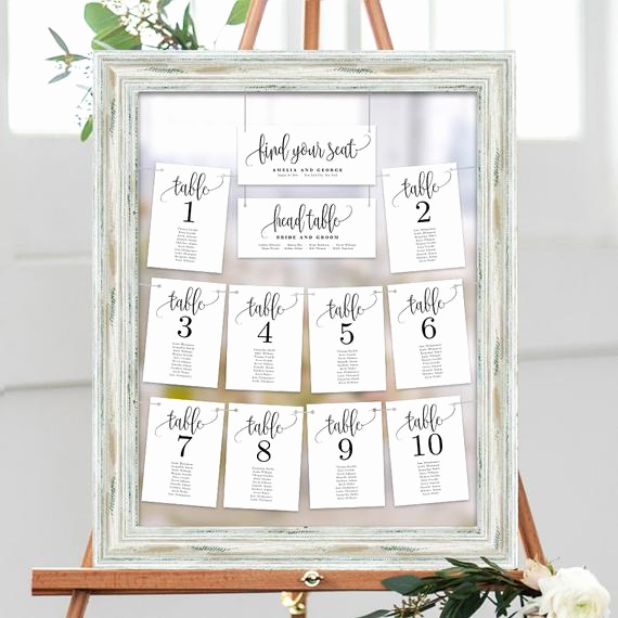 Seating Chart Template Wedding Inspirational Wedding Seating Chart Template Set Printable Table Seating