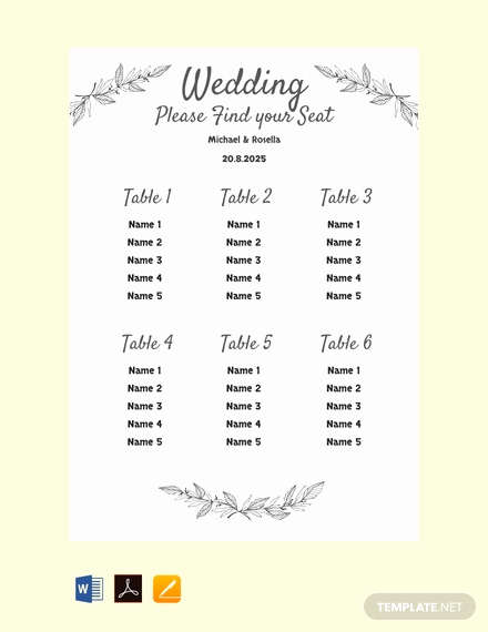 Seating Chart Template Wedding Lovely Free Chalkboard Wedding Seating Chart Template Download