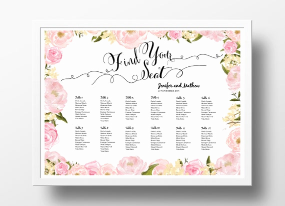 Seating Chart Template Wedding Lovely Wedding Seating Chart Poster Template Wedding Table Plan