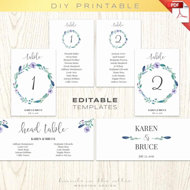 Seating Chart Template Wedding New Floral Wedding Table Numbers Printable Template Seating