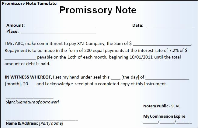Secured Promissory Note Template Awesome Promissory Note Template