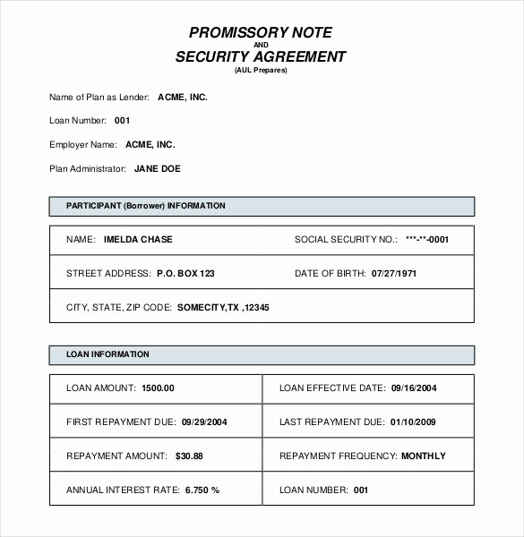Secured Promissory Note Template Beautiful Security Agreement for Promissor Note