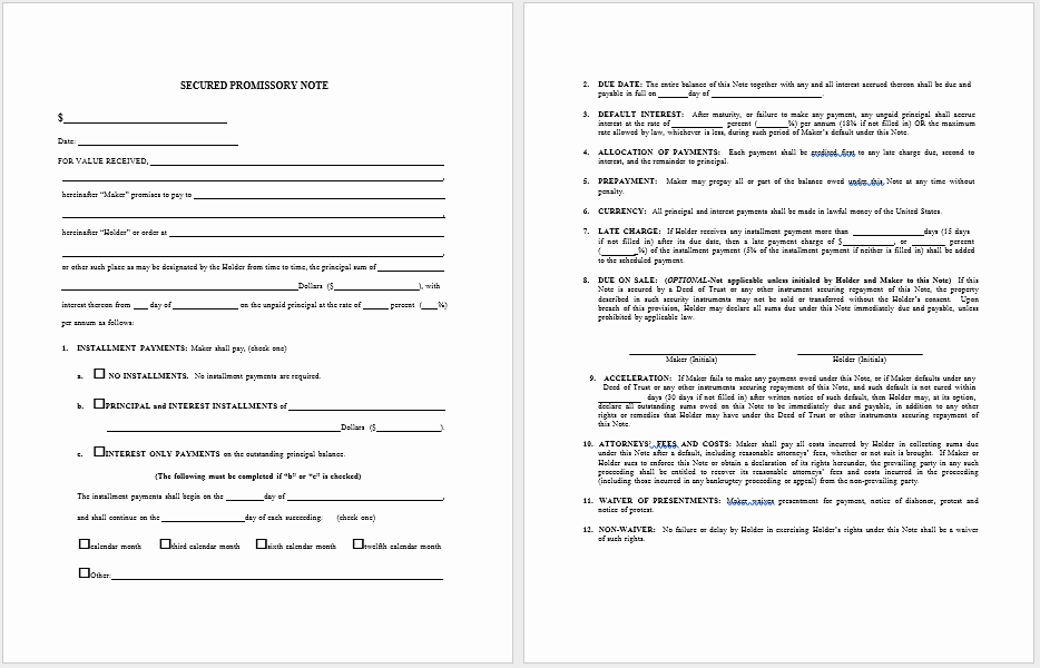 Secured Promissory Note Template Inspirational 43 Free Promissory Note Samples & Templates Ms Word and
