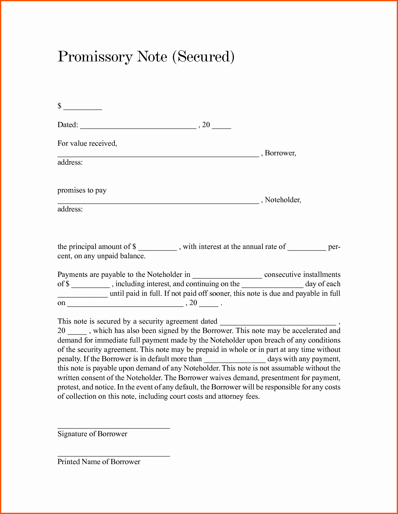 Secured Promissory Note Template Lovely 12 Secured Promissory Note