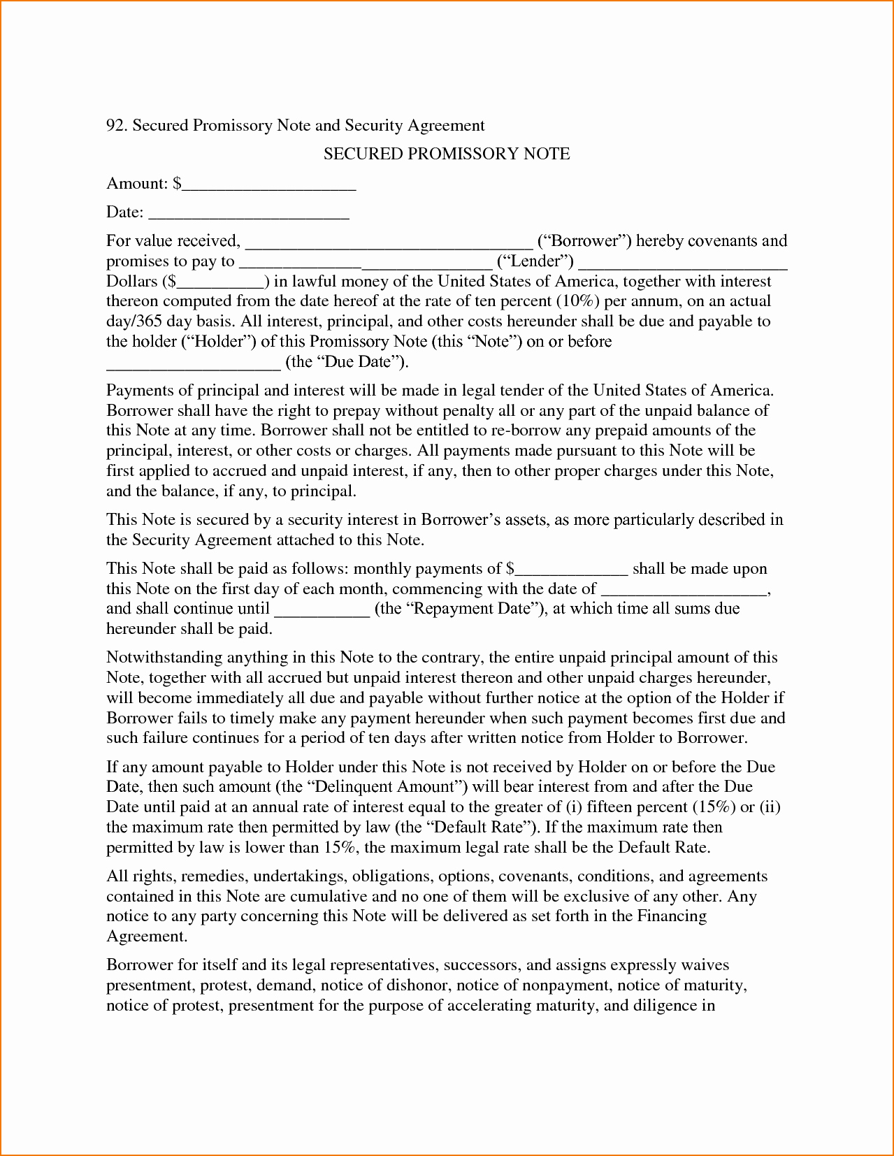 Secured Promissory Note Template Lovely 4 Secured Promissory Note Template
