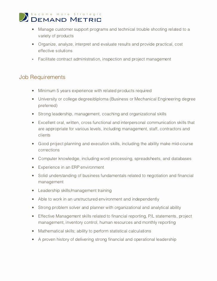 Senior Projects Manager Job Description Beautiful Operations Manager Job Description