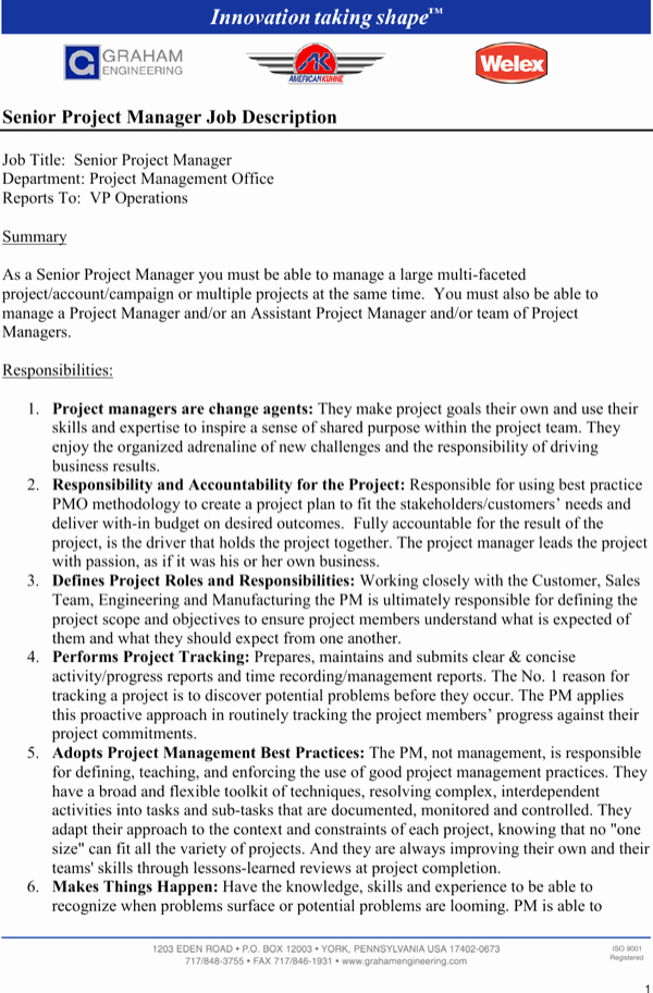 Senior Projects Manager Job Description Best Of Download Senior Project Manager Job Description for Free