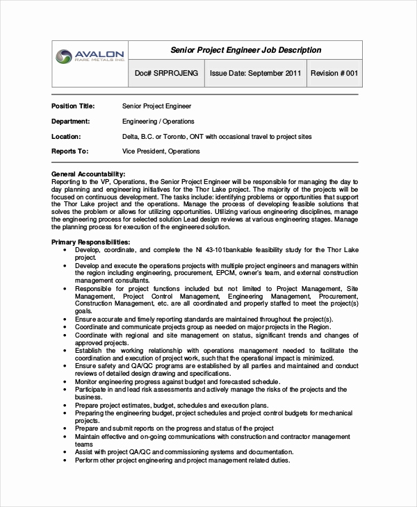 Senior Projects Manager Job Description Best Of Project Engineer Job Description Design Templates