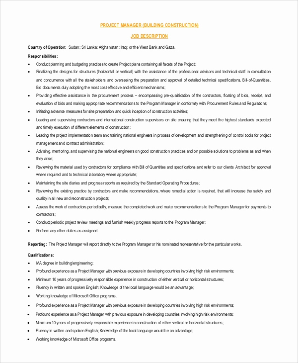 Senior Projects Manager Job Description Fresh 9 Project Manager Job Description Samples