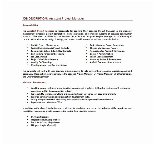 Senior Projects Manager Job Description Inspirational 9 Project Manager Job Description Templates