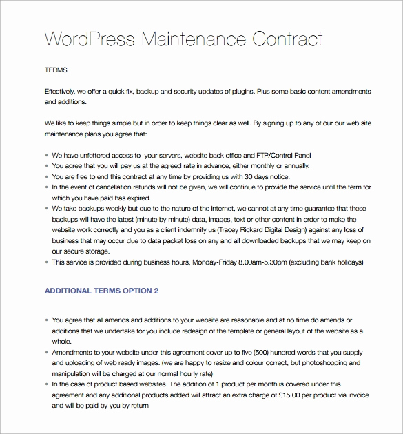 Service Contract Template Word Awesome 14 Maintenance Contract Templates to Download for Free