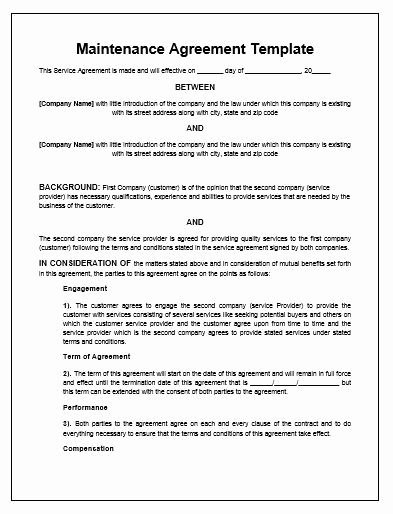 Service Contract Template Word Beautiful Maintenance Agreement Template