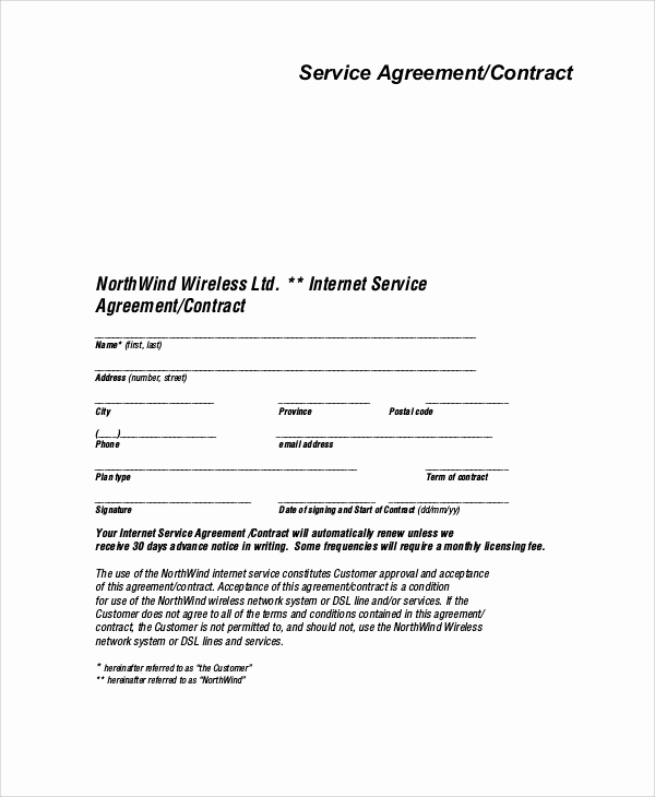 Service Contract Template Word Unique Sample Service Agreement Contract 9 Examples In Word Pdf