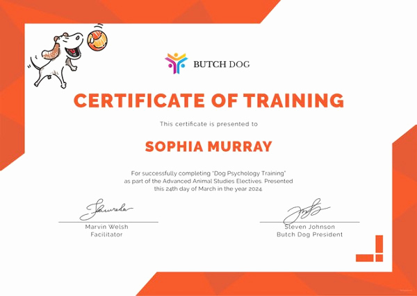 Service Dog Certificate Template Best Of Training Certificate Template 27 Free Word Pdf Psd