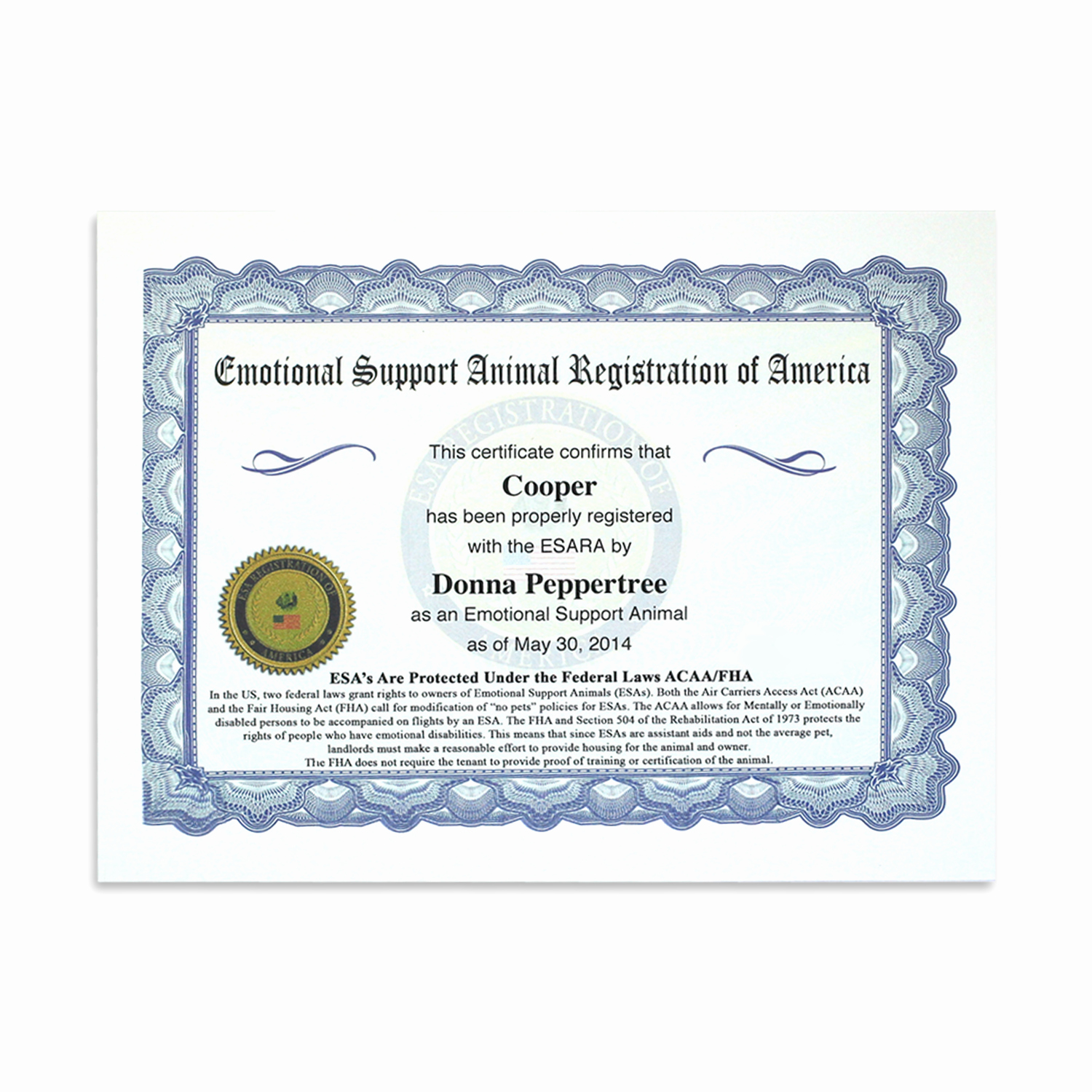 Service Dog Certificate Template Luxury Esa Ultimate Vip All Access Kit